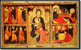 FRONTAL D´AVIÀ. Cap a 1170-1190. Tremp sobre taula amb relleus d´estuc i colradura. Procedeix de l´església de Santa Maria d´Avià (Berguedà)